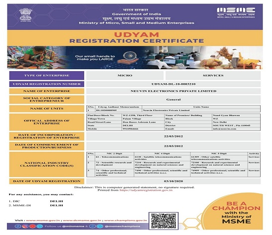MSME_Certificate_Neuvin_Electronics
